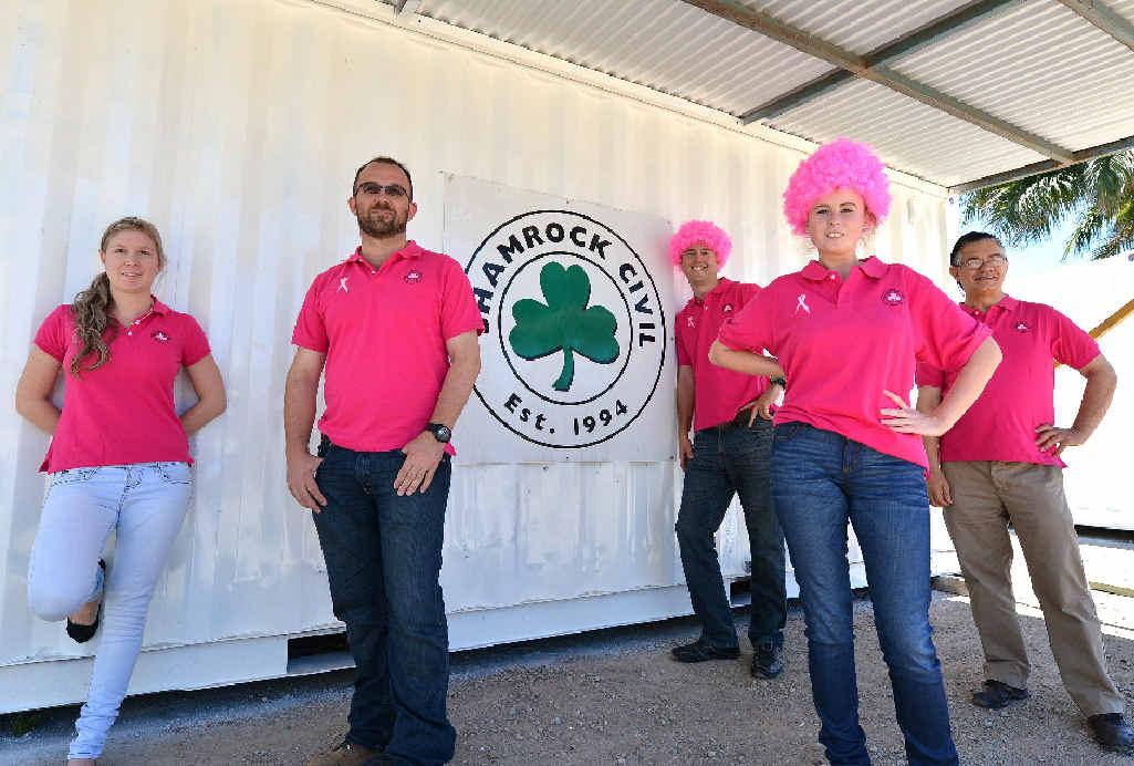 Stacey Bemrose, David Carey, Jamie Williams, Geraldine Loughran and David Carney of Shamrock Civil Engineering are marking Pink Ribbon Day.