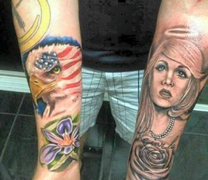 IN THE RUNNING: Aaron Carmody's entry for his two sleeve tattoos.