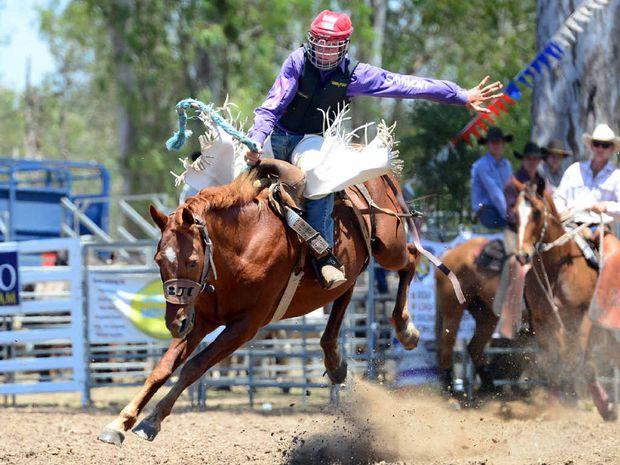 Riplay Mann flies high in the junior saddle bronc.