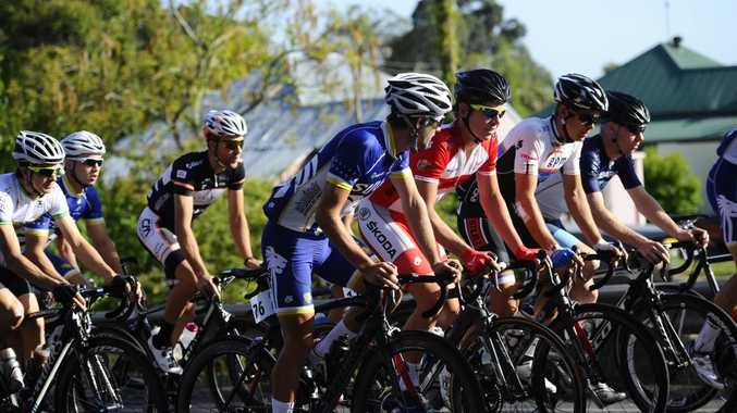 A Grade riders head over the Grafton Bridge during the 2013 Grafton to Inverell Cycle Classic. Photo JoJo Newby / The Daily Examiner