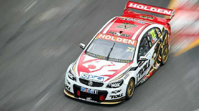 SPEED THRILLS: James Courtney drives his Holden during practice for the Gold Coast 600 yesterday.
