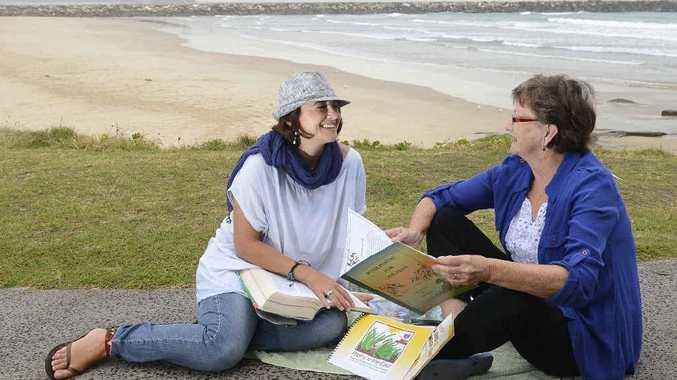 LEARNING ENVIRONMENT: Livia Palmieri and Heather Collins - about to provide English classes and surfing lessons in Yamba.