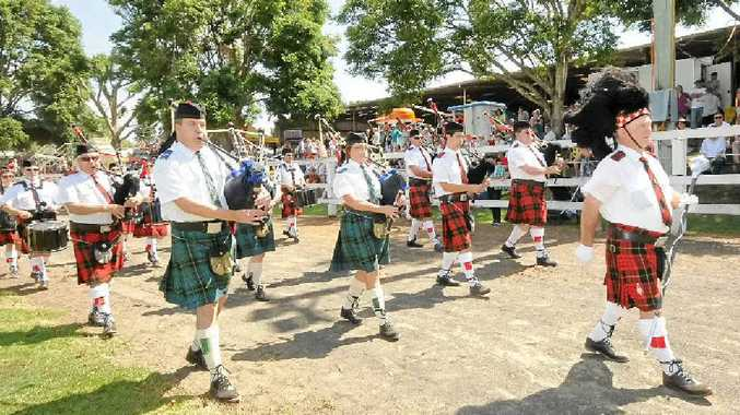 The Lismore and Ballina combined pipe band Lead the show girls in to the ring at the Alstonville show on Saturday. Photo Doug Eaton / The Northern Star