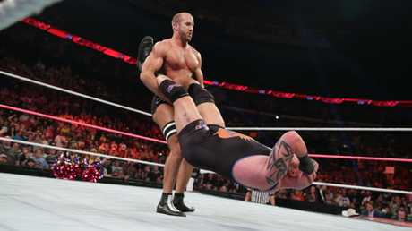 WWE Superstar Antonio Cesaro performing the Cesaro Swing. He set the record, 31 times around, in Australia.