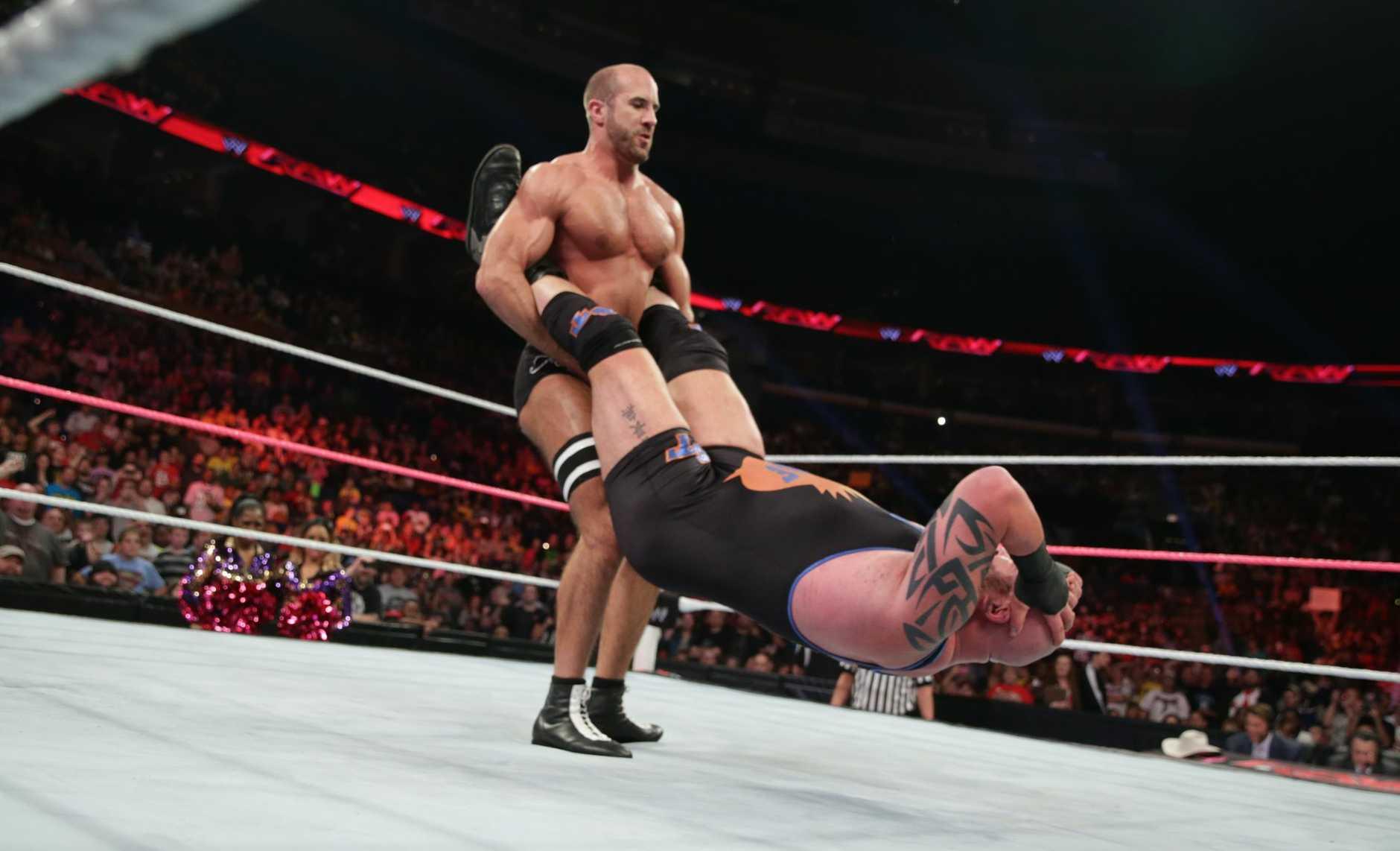 WWE Superstar Antonio Cesaro performing the Cesaro Swing. He set the record, 31 times around, in Australia.