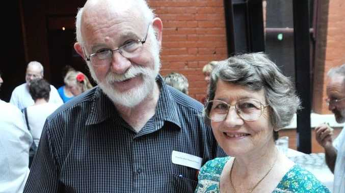Emeritus Professor Morris French and Eleanor Cullen at the launch of Toowoomba Regional Council's new book Heritage Treasures of the Toowoomba Region 2013. Photo Chris Calcino / The Chronicle
