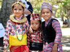 Zoyal Dahal, Amogh Thaursi and Aakit Pokhrel in traditional Nepalese dress for yesterday's Global Grooves Festival.