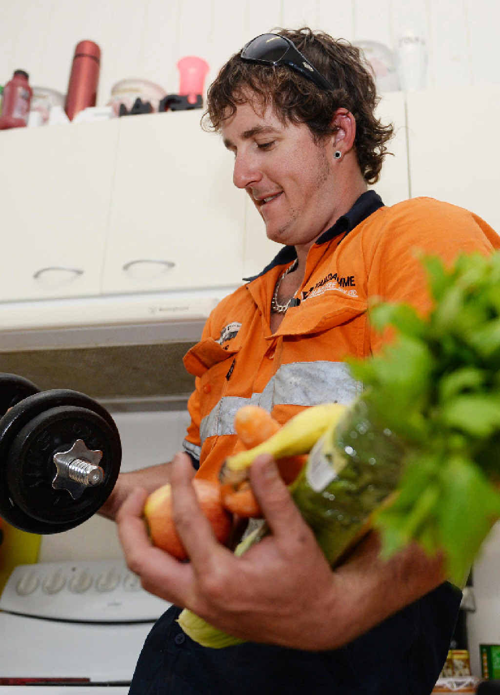 Mining operator Chris Benson looks to fresh fruit and vegetables in a bid to find a healthy balance.