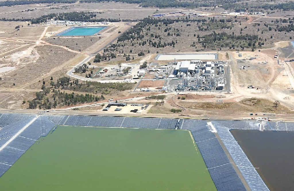 The different stages of processed water can be seen from the sky at the Kenya Water Treatment Plant in south-west Queensland.