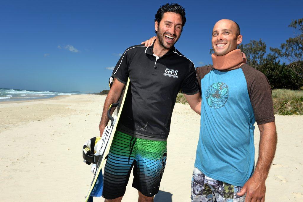 Gili Day and Nick Bushnelll on salt beach, Gili saved Nick's live.