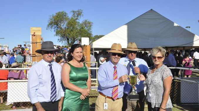 Sponsors Bill Smith (left), Anita Pursehouse, Racing Queensland chairman Kevin Dixon, Clifton Jockey Club president George Cross and winning Clifton Cup owner Peta Siebenhausen at last Saturday's cup-day meeting.