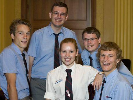 Toowoomba State High School award winners Nick Toleman, Joseph Spearritt, Kate Penfold, Cameron Ryle and Warren Formella.