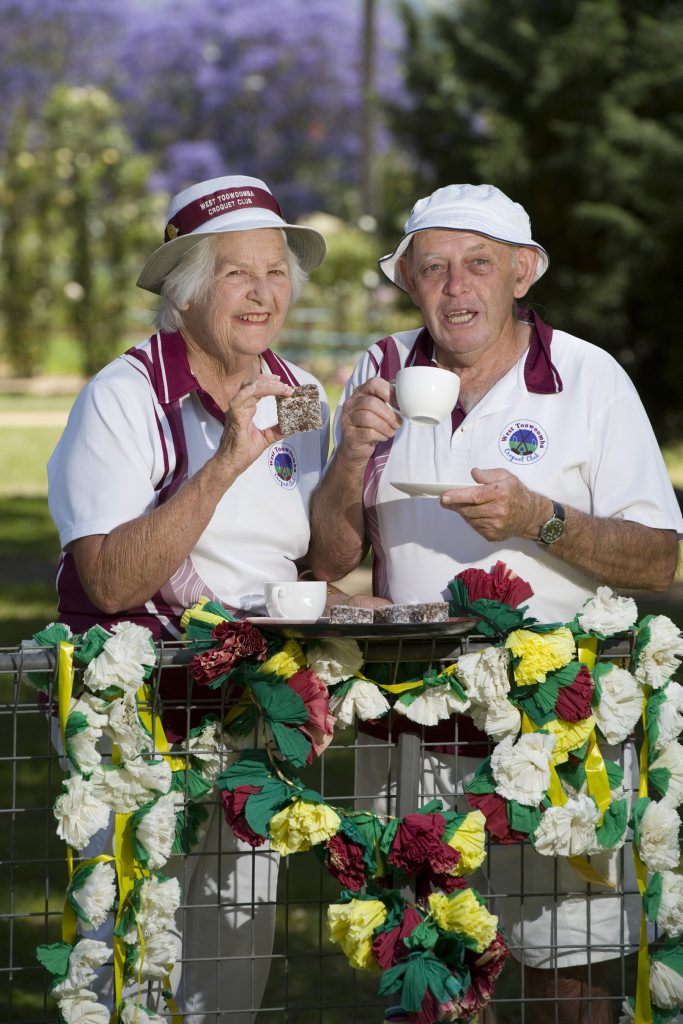 West Toowoomba Croquet Club members including Kay Duncan and Russell Belz look forward to the centenary celebrations of Newtown Park, where they will be selling devonshire tea, Tuesday, October 29, 2013. Photo Kevin Farmer / The Chronicle