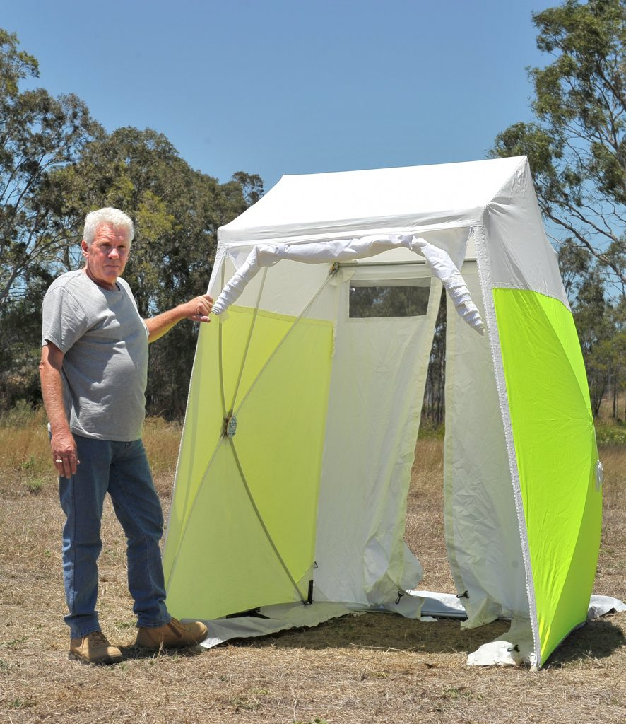 HARD WORK: Mike Stewart has made Gladstone home, to promote his new Pop 'n' Work shelters.