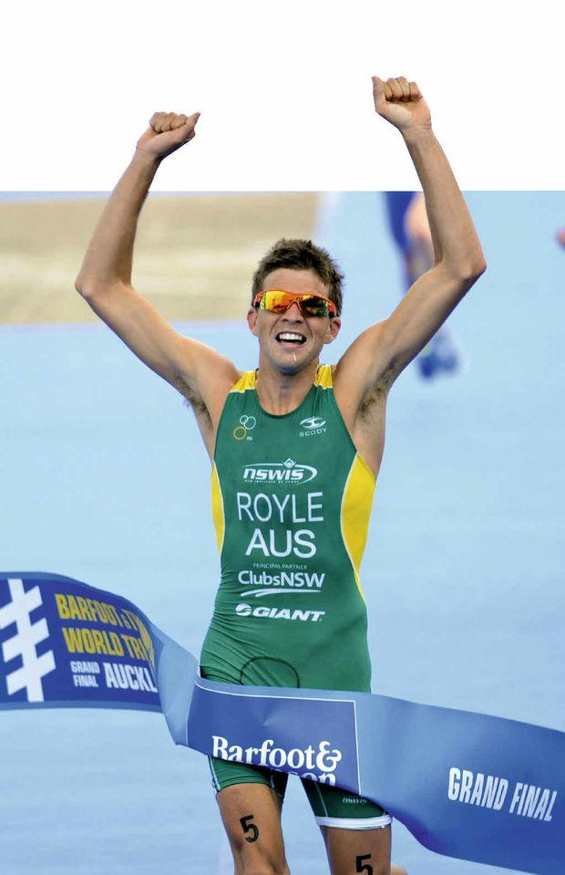 SWEET TURNAROUND: Australia's Aaron Royle wins the ITU Triathlon Under-23 World Championship in Auckland last year.