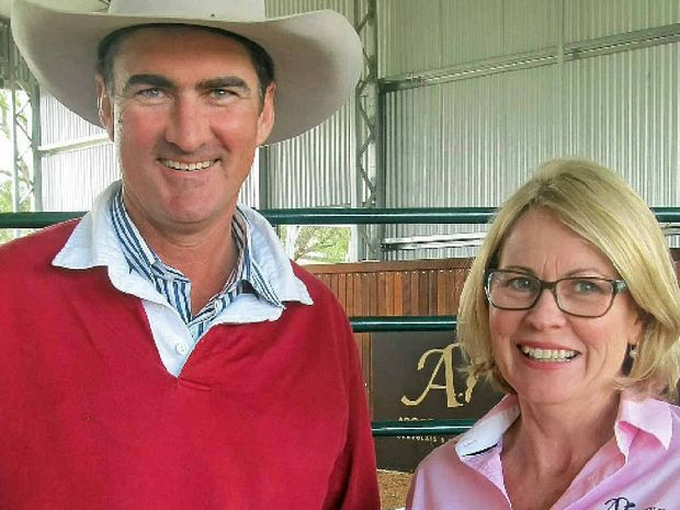 NETWORKING: Ben Cory, Warwick, chats with Ascot Charolais and Angus stud principal, Jackie Chard, at their open day.