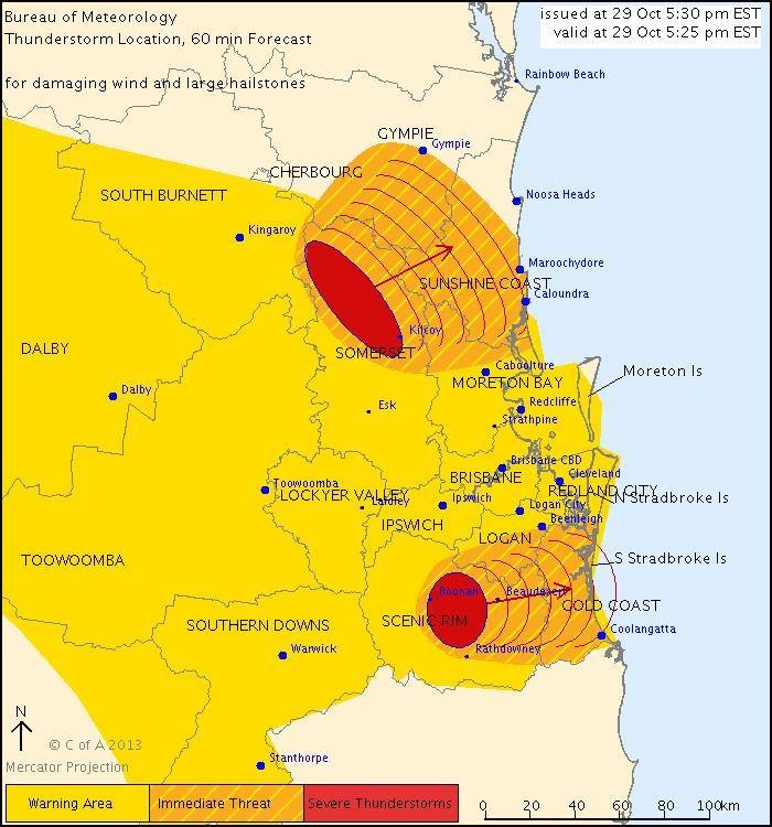 The Bureau of Meteorology says a severe thunderstorm is set to impact the Sunshine Coast and Gympie.