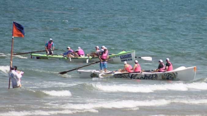Yeppoon Surf Lifesaving Club's Master's boat crew of Yeppoon coming back in first place in the skins race at the North Australian Championships in Mackay.