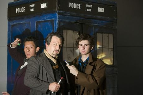 Dr Who fans dressed as the doctor (from left) Scanlon Chow as the eleventh doctor, David Riley as John Hurt's doctor and Jesse Atfield as the tenth doctor for the upcoming 50th anniversary screening at Grand Central Birch Carroll and Coyle cinemas, Monday, October 28, 2013. Photo Kevin Farmer / The Chronicle