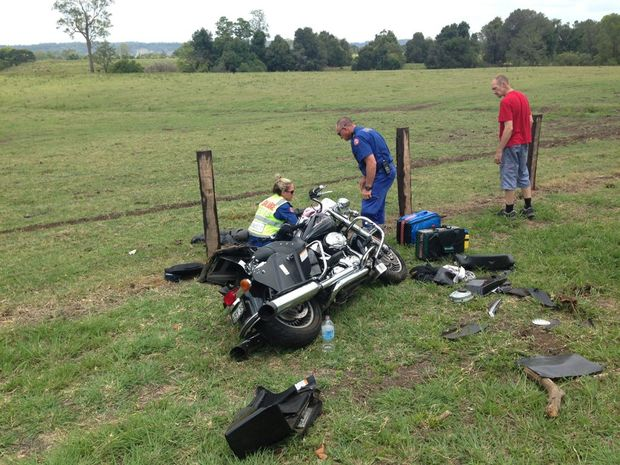 One of the motorcycle crashes on Nimbin Road near the Booerie Creek home of Peter Szaak. Photo Contributed