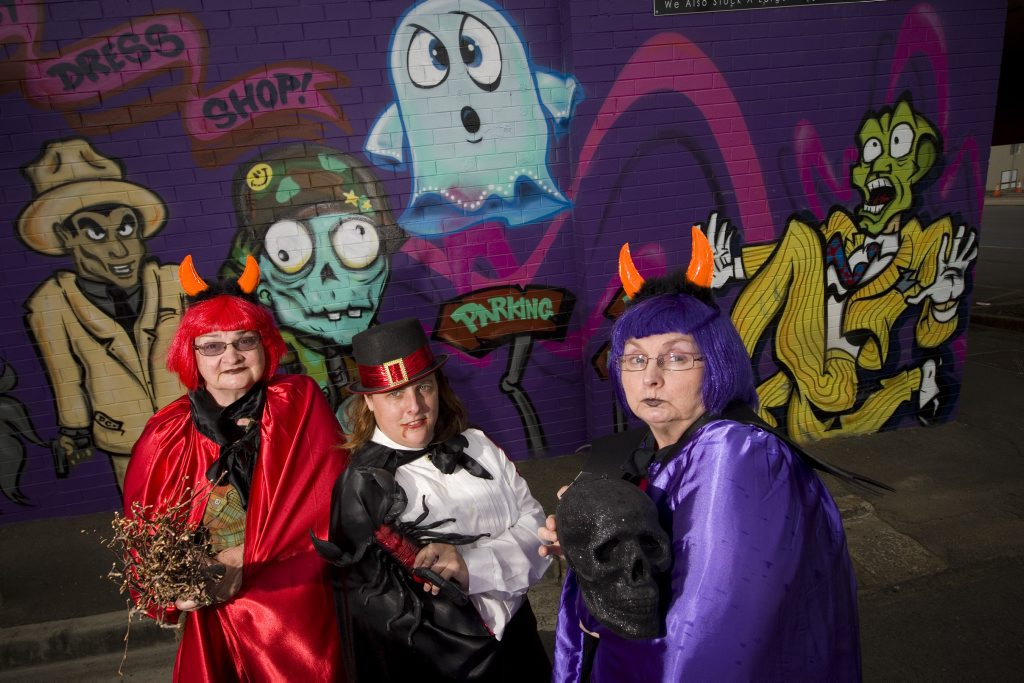 Preparing for Halloween are (from left) Colleen Dwyer-Gray, Christine Anderson and Kerrie Edwards at the Toowoomba Fancy Dress Shop.