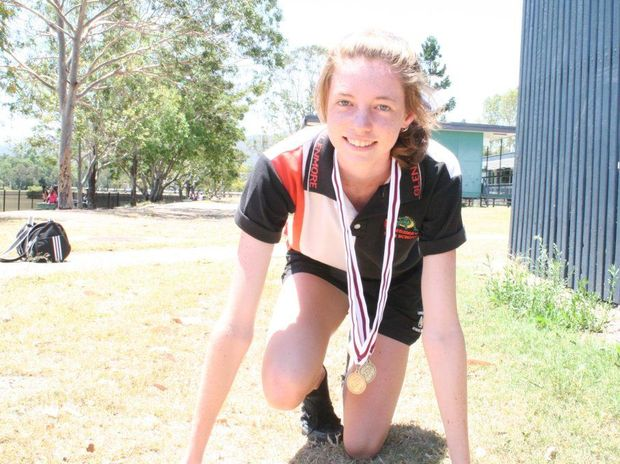 Glenmore State High student Kelsey Mann won gold in the 100m 16 year girls sprint at the Queensland Secondary Schools Championships last week. Photo Guy Williams / Morning Bulletin