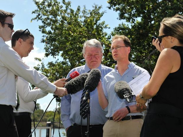 Federal Environment Minister Greg Hunt and Flynn MP Ken O'Dowd speak to journalists in Gladstone.
