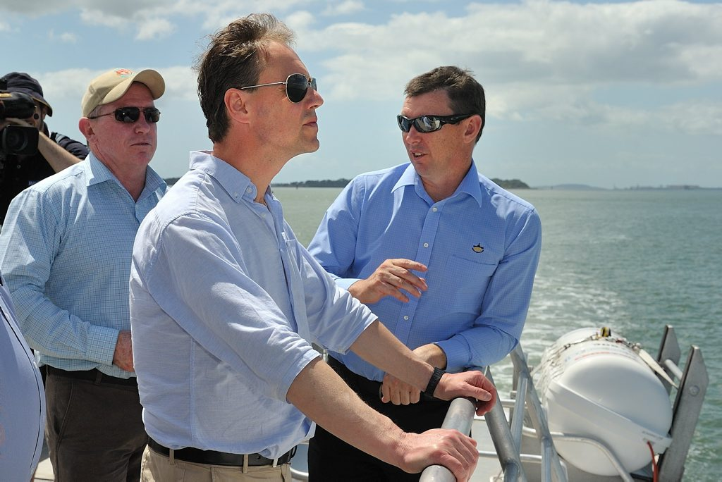 Federal Environment Minister Greg with Western Basin Dredging and Disposal Project Leader Peter O'Sullivan and GPC Chief Executive Officer Craig Doyle.