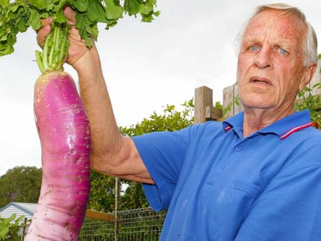 WHAT A BEAUTY: Kerry Austin with his radish.