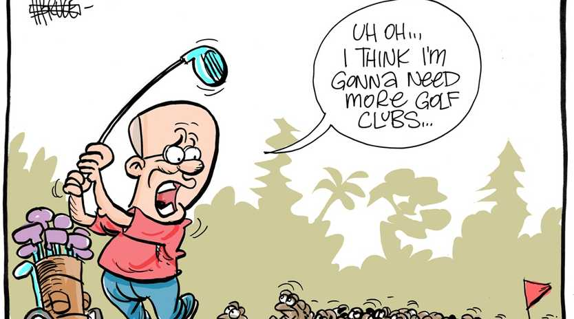 Harry Bruce cartoon of Frazer Pearce mobbed by cane toads on golf course.