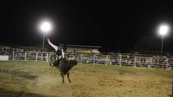 Lawrence cowboy Shane Want rides the feature bull event 'Hot Shot' during last year's Jacaranda Rodeo at the Grafton Showground. Photo Debrah Novak / The Daily Examiner