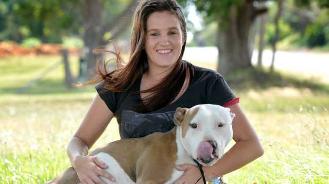 April Spencer has co-founded a new animal rescue group. April is pictured with Channing, one of the rescued dogs.