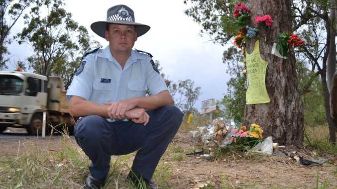 Chinchilla Police officer-in-charge Sergeant Gerard Brady at the scene of the crash on Chinchilla-Tara Road that took the lives of Russell Poole and Jackson Sattler.