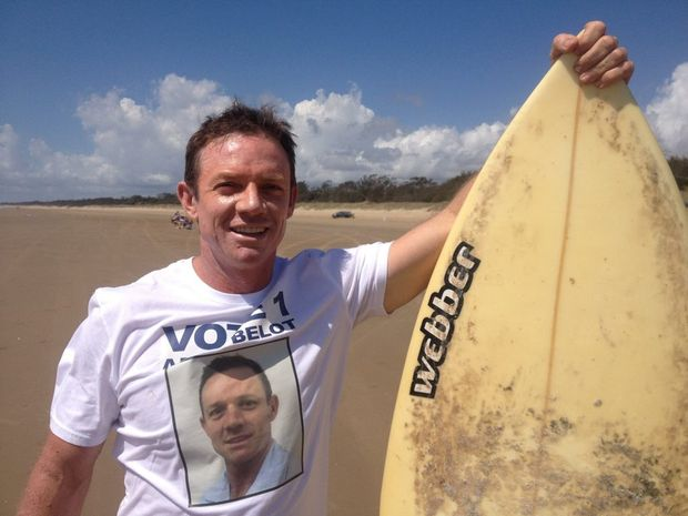 Livingstone Shire Council candidate Adam Belot plans to paddle from paddle from Keppel Island back to the mainland as he prepares to connect the Beach to the Bush - an innovative way to connect the dots across the very broad Livingstone Shire. Photo: Contributed.