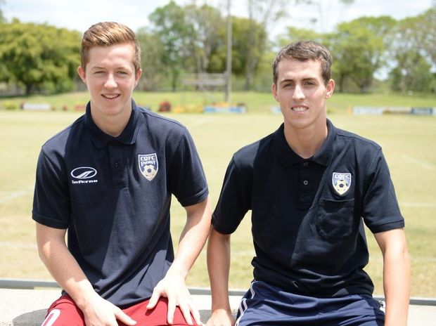 Soccer players Braedyn Crowley and Kevin Fraser. Photo Allan Reinikka / The Morning Bulletin