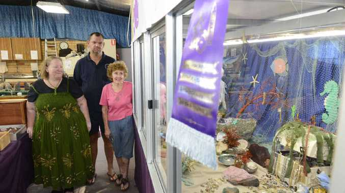 IT'S A GEM: Elizabeth Watkins, Simon Ashbrooke and Elaine Broadfoot of the Grafton Gem Club with their winning Jacaranda Window Display. Photo: Adam Hourigan