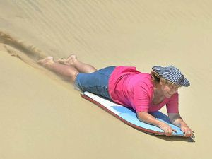 Sand boarding a top birthday trick for active grandmother