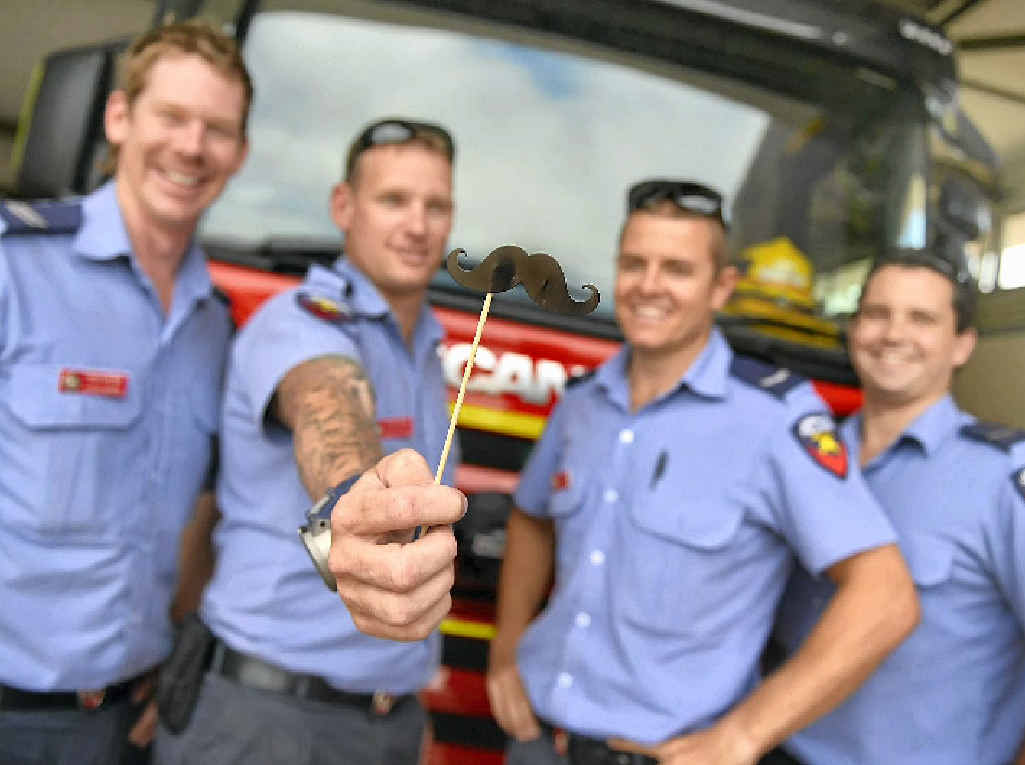JUST A MO: (L-R) Queensland Fire and Rescue Service Gladstone firefighters Tom Neville, Steve Axon, Chris Brett and Aaron Sands are participating in Movember this year.