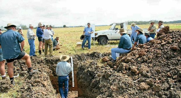 LESSONS: Participant's in last year's FBA field day learn about healthy soils around a soil pit. The Fitzroy Basin Association is holding free field days to help graziers.