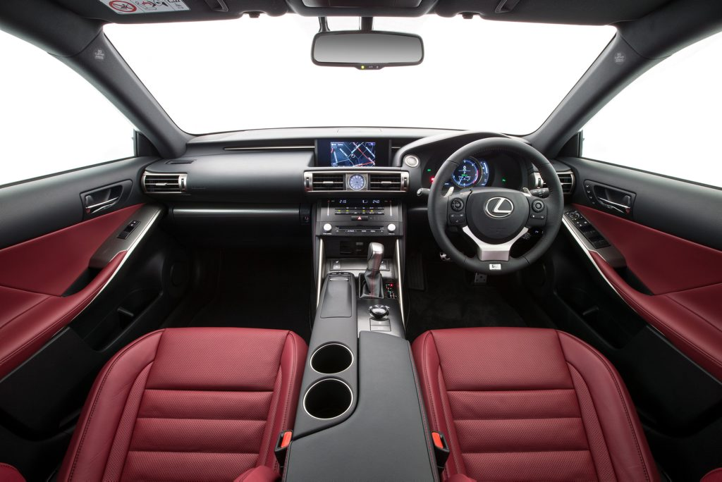 Inside the Lexus IS350 F Sport.