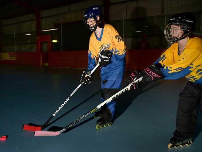 Inline hockey players Yvette Renton and Jayden Zoch. Photo Allan Reinikka / The Morning Bulletin