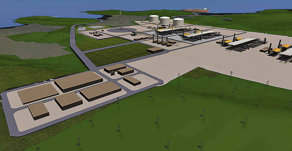 An artist's impression of the proposed Arrow LNG site on Curtis Island.
