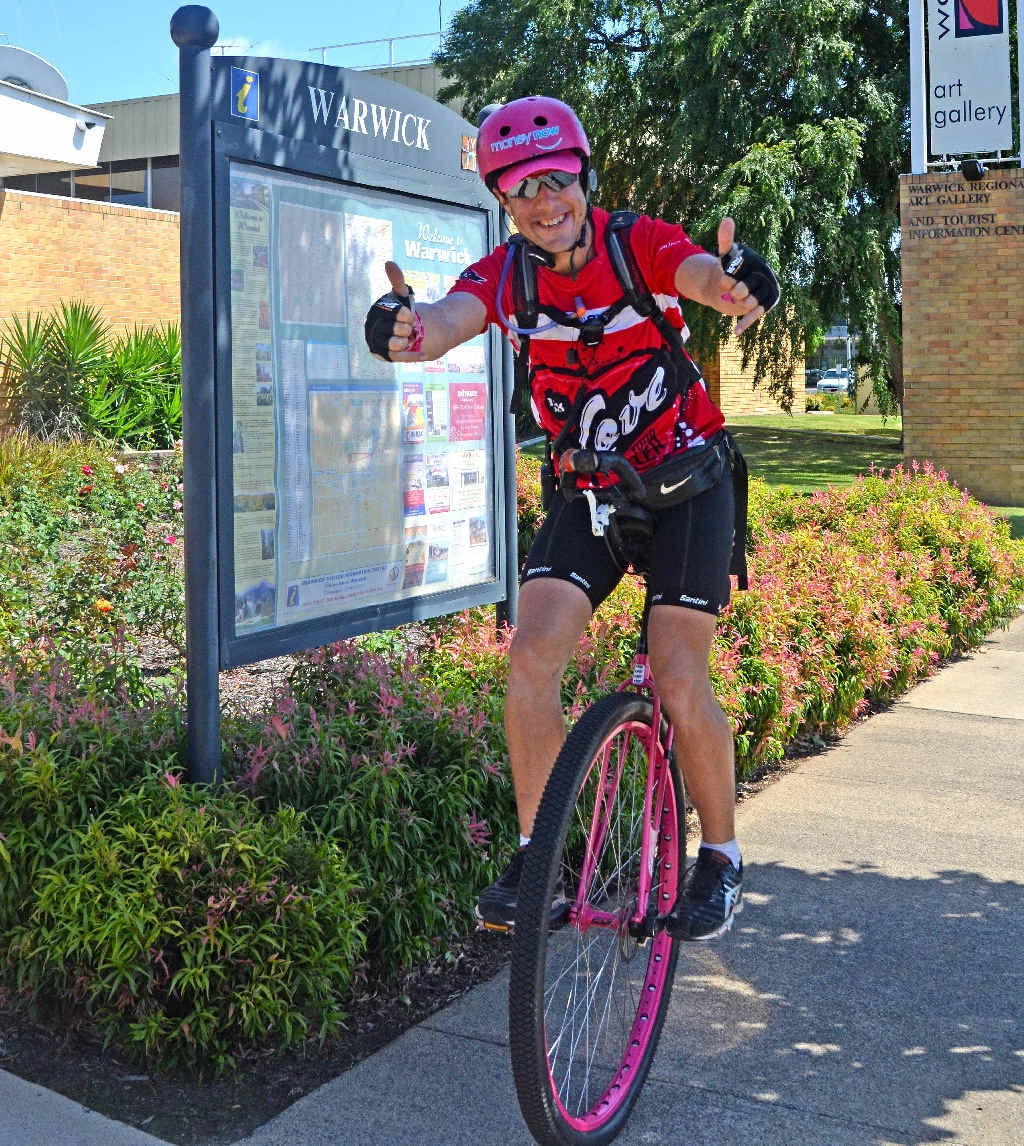 BIG TRIP: Samuel Johnson is unicycling 15,000km to raise $1 million for breast cancer research.