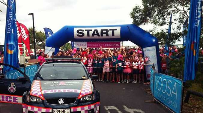 Queensland Police Service were at the Noosa Breakfast Fun Run this morning in their specially marked breast cancer awareness vehicle.