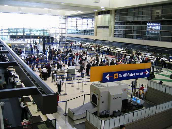 International check-in hall at LAX