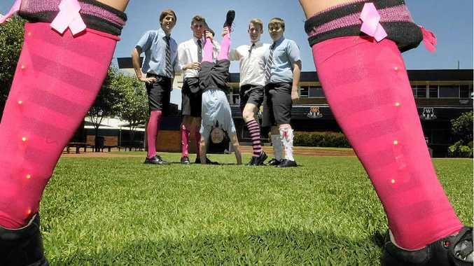 CREATIVE FUNDRAISING: St Mary's College students (from left) Kalen Cleghorn, Tom Ekerick, Chris Godfrey, Adam Lynch and Patrick Kajewski show off their pink sox.