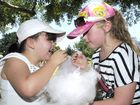 Enjoying fairy floss are Tegan Sander (left) and Riley McNally.