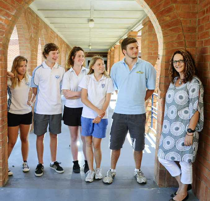 TAKING ON CHALLENGE: Abbie Smith, Ben Zietsch, Jemma Clark, Briony Moore and Ben Piper with teacher Tracey Patterson at Grafton High School. The students are in Year 10 and doing accelerated classes, meaning they have started their HSC studies a year earlier than most students. PHOTO: JOJO NEWBY