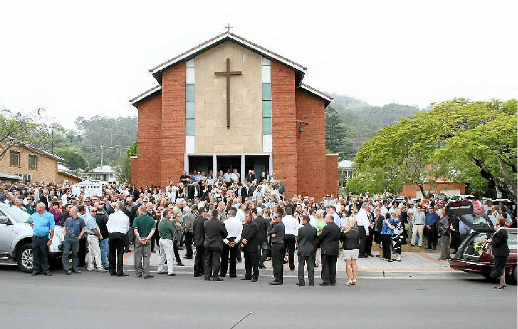 TRAGEDY: Mourners gather to celebrate the life of Forestry Corporation of NSW worker John Crighton.
