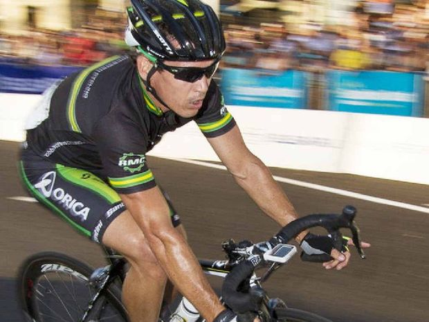 STILL LOOKING GREAT: Robbie McEwen speeds around the Noosa circuit yesterday.
